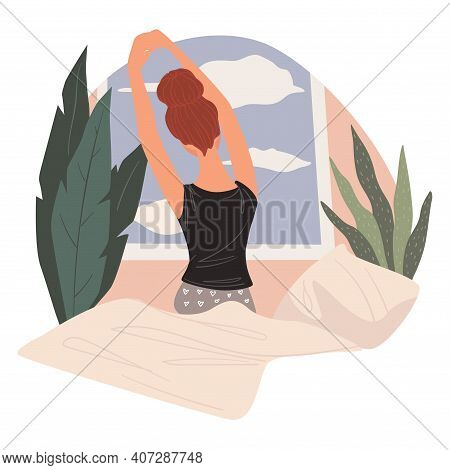 Woman Waking Up In Morning, Stretching Female