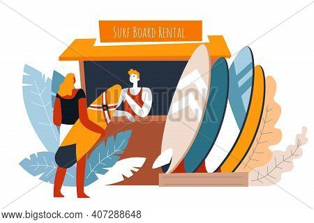 Surf Board Rental Point By Seaside Or Beach Vector