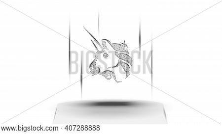Uniswap Uni Token Symbol Of The Defi System Above The Pedestal On White Background. Cryptocurrency L