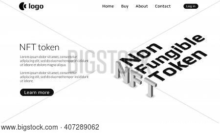 Nft Nonfungible Token Website Template With Isometric Text On Light Background. New Class Of Coins.