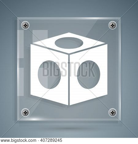 White Billiard Chalk Icon Isolated On Grey Background. Chalk Block For Billiard Cue. Square Glass Pa