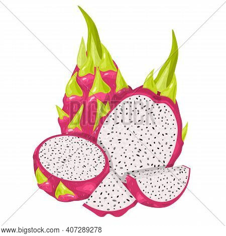 Set Of Fresh Whole, Half, Cut Slice Red Pitaya Fruits Isolated On White Background. Summer Fruits Fo