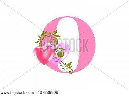 Floral Alphabet, Letter O With Two Hearts. Monogram Initials For Wedding Invitations, Greeting Card