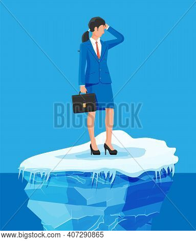 Desperate Businesswoman Floats On Iceberg. Obstacle On Work, Financial Crisis. Risk Management, Busi