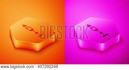 Isometric Burning Candle In Candlestick Icon Isolated On Orange And Pink Background. Old Fashioned L