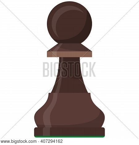 Pawn Playing Chess Piece Isolated Flat Vector Icon