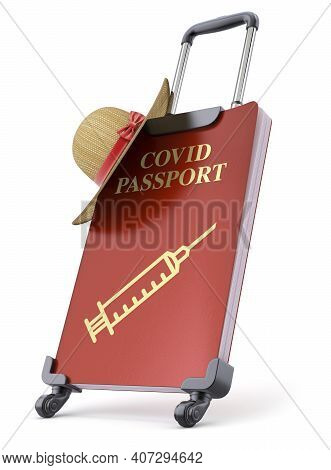 Travel Concept With Covid Immunity Passport - 3d Illustration