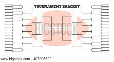 64 American Football Team Tournament Bracket Championship Template Flat Style Design Vector Illustra