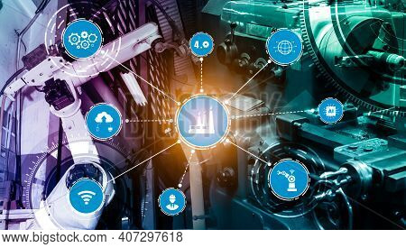 Industry 4.0 Technology Concept - Smart Factory For Fourth Industrial Revolution With Icon Graphic S
