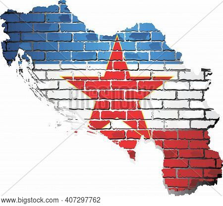 Shiny Yugoslavia Map On A Brick Wall - Illustration,  Yugoslavia Map With Flag Inside