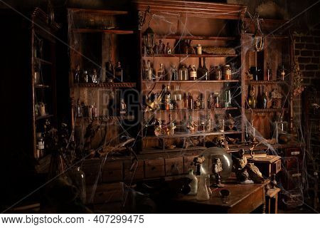 Halloween Background Shelves With Alchemy Tools Skull Spiderweb Bottle With Poison Candles Witcher W