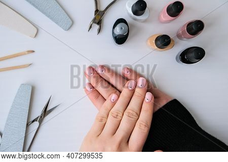Advertising Background For Nails, Beauty Salons, Work At Home With Nails. Nail Care, Self Care. Fema