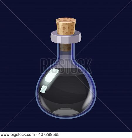 Bottle With Liquid Black Potion Magic Elixir Game Icon Gui. Vector Illstration For App Games User In