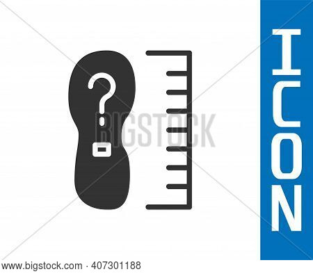Grey Square Measure Foot Size Icon Isolated On White Background. Shoe Size, Bare Foot Measuring. Vec