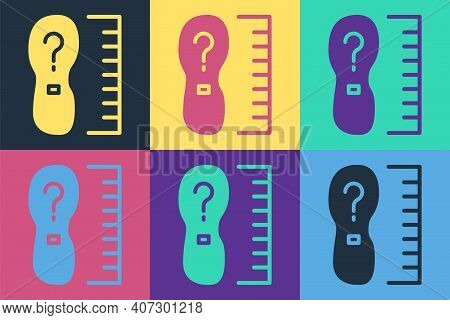 Pop Art Square Measure Foot Size Icon Isolated On Color Background. Shoe Size, Bare Foot Measuring.