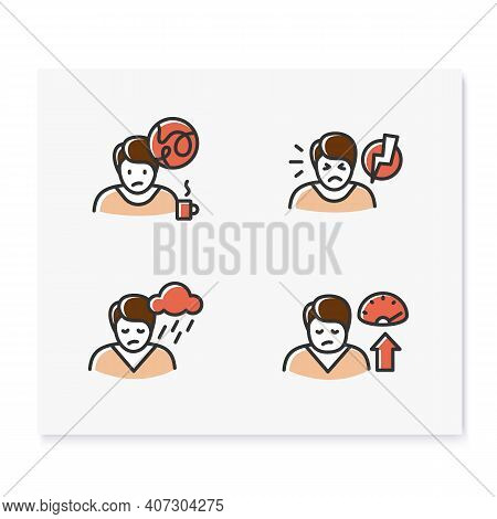 Sleep Disorder Color Icons Set. Healthy Sleeping Concept. Different Types Of Sleep Disorders. Fallin