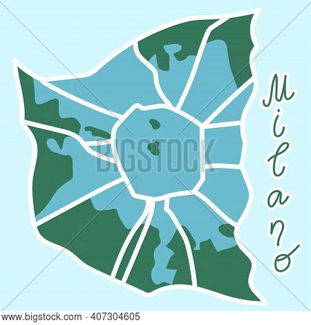 Cartoon Flat Map Of The Center Of Milano. The Land Is Blue. White Mail Streets. Funny Cute European