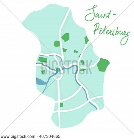 Cartoon Flat Map Of The Center Of Saint-petersburs. River Is Blue, The Land Is Green. Funny Cute Eur