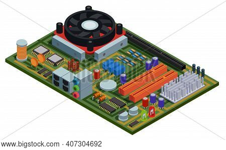 System Plate For Pc Isometric Vector Illustration With Semiconductor Elements Slots Microchips Capac