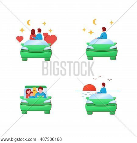 Getaway Car Flat Icons Set. Relax And Travel By Automobile Concept. Contains Such Icons As Relax, Lo