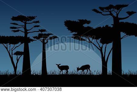 Deer In Dark Night Savanna Landscape Africa Wildlife Illustration