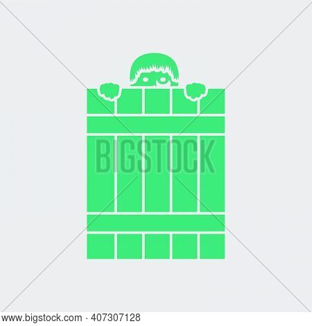 Criminal Peeping From Fence Icon. Green On Gray Background. Vector Illustration.