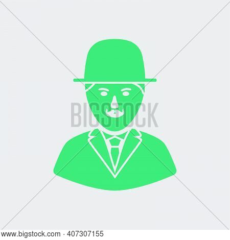 Detective Icon. Green On Gray Background. Vector Illustration.