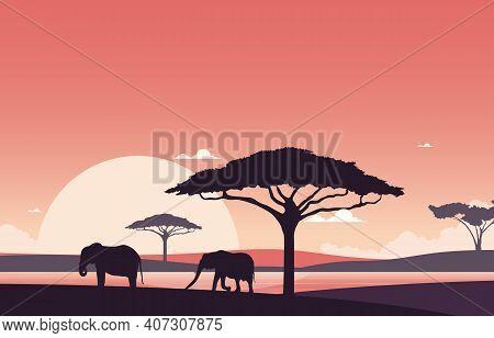 Elephant Sunset Animal Savanna Landscape Africa Wildlife Illustration