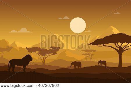 Lion Elephant Animal Savanna Landscape Africa Wildlife Illustration