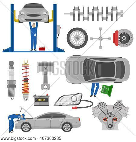 Car Service Decorative Elements Set With Working Mechanics Auto Spare Parts Hoist Tools Isolated Vec