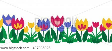 Seamless Flower Border Isolated On White Background. Hand Drawn Floral Vector Illustration Child Lik