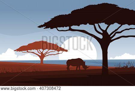 Rhino Animal Savanna Landscape Africa Wildlife Illustration