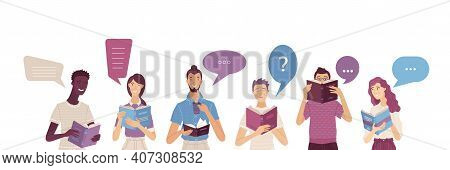 People Reading Books Composition In Cartoon Style. Happy Young Men And Women Holding Opened Books Wi