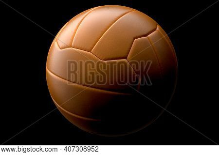 Leather Football Ball On Black Background. 3d Rendering Of Sport Accessories For Team Playing