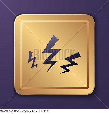 Purple Zeus Icon Isolated On Purple Background. Greek God. God Of Lightning. Gold Square Button. Vec