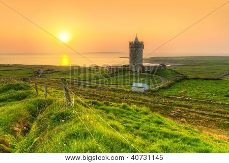 Doonagore castle at sunset, Co. Clare, Ireland