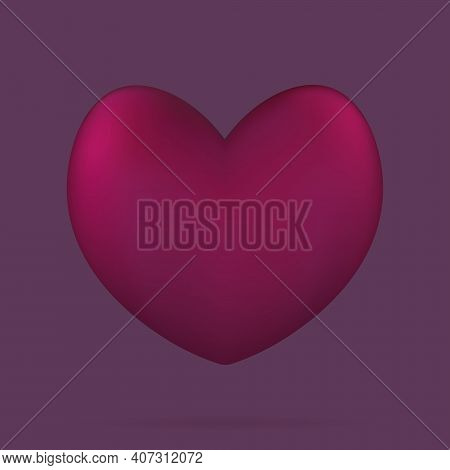Heart. Three-dimensional Shape. The Floating Heart Casts A Shadow. Color Vector Illustrations. Isola