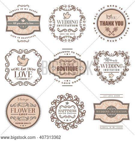 Vintage Romantic Labels Set With Wedding Invitation Love Amorous Inscriptions Pigeon Ornamental Fram