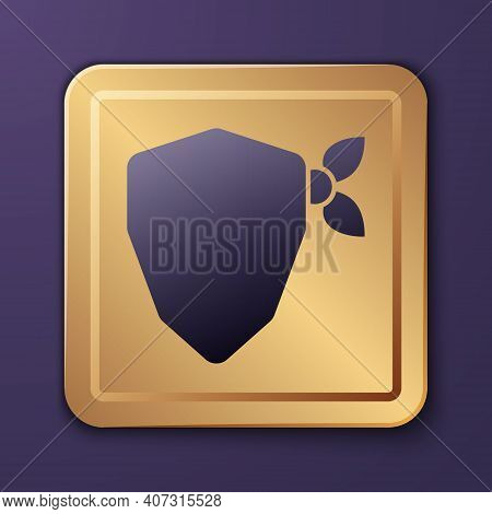 Purple Vandal Icon Isolated On Purple Background. Gold Square Button. Vector