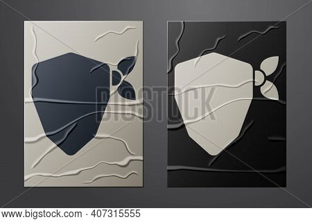White Vandal Icon Isolated On Crumpled Paper Background. Paper Art Style. Vector