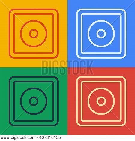 Pop Art Line Billiard Chalk Icon Isolated On Color Background. Chalk Block For Billiard Cue. Vector