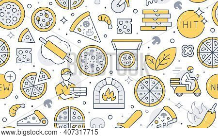 Pizza Delivery Yellow Seamless Pattern. Vector Background Included Line Icons As Courier, Cheese, Hi