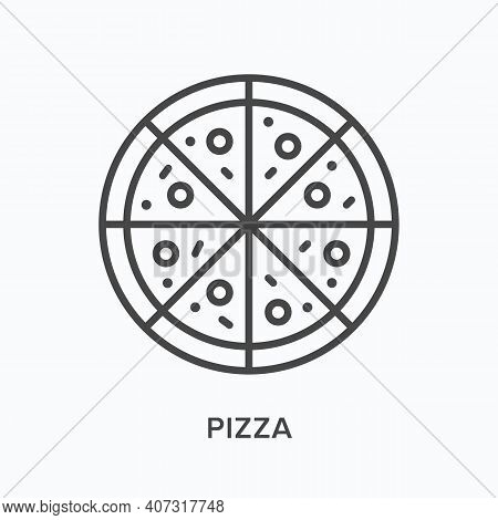 Pizza Flat Line Icon. Vector Outline Illustration Of Sliced Pepperoni. Black Thin Linear Pictogram F