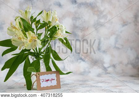 A Bouquet Of Lilies On A Light Background. Mother's Day, Women's Day, Valentine's Day Or Birthday. C
