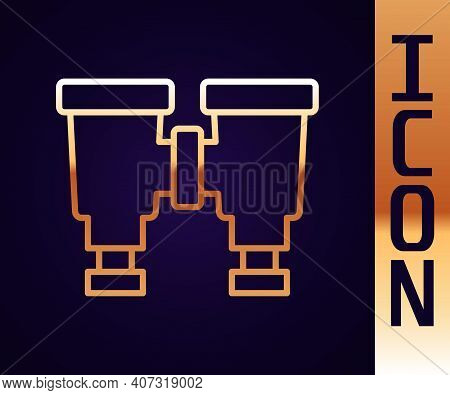 Gold Line Binoculars Icon Isolated On Black Background. Find Software Sign. Spy Equipment Symbol. Ve