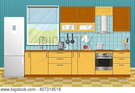 Kitchen Interior Concept With Window Yellow Cupboards And Cabinets Blue Textural Wall And Tiled Floo