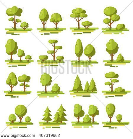 Forest Flat Elements Set With Coniferous And Deciduous Trees And Bushes Of Various Shape Isolated Ve