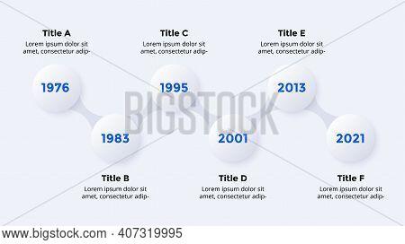 Timeline Neumorphic Vector Infographic Timeline. 6 Steps. Presentation Slide Template. Clean Minimal