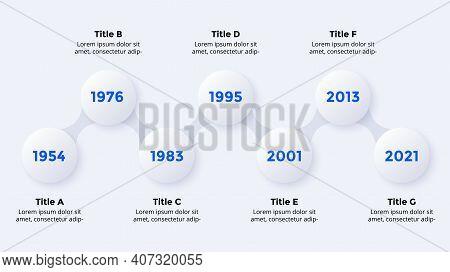 Timeline Neumorphic Vector Infographic Timeline. 7 Steps. Presentation Slide Template. Clean Minimal