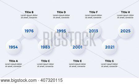 Timeline Neumorphic Vector Infographic Timeline. 8 Steps. Presentation Slide Template. Clean Minimal